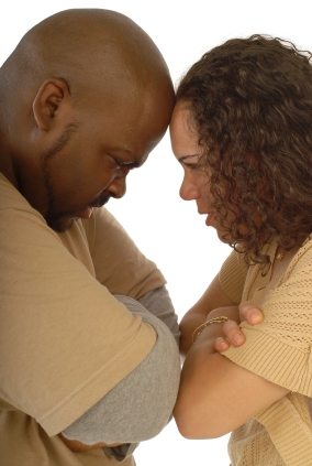 Interracial couple fighting